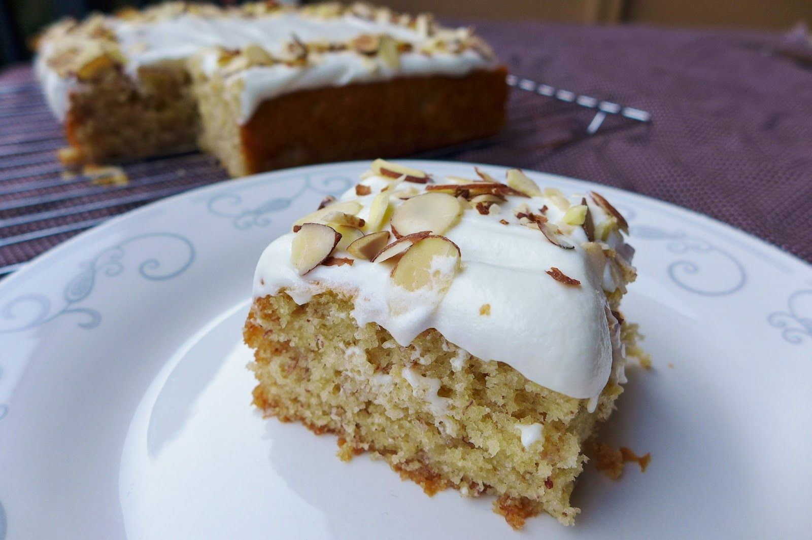 Banana cake with almond cream cheese frosting with images