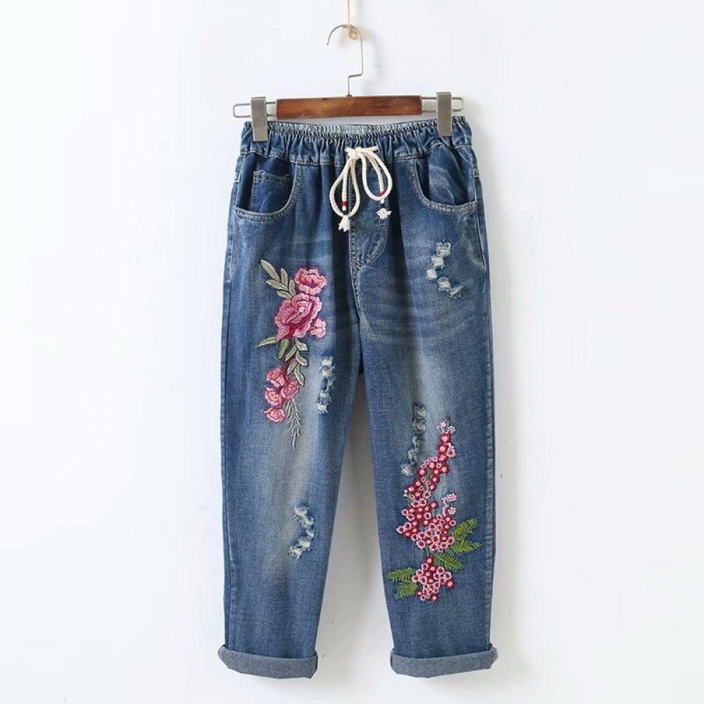 Photo of Jeans con fiori ricamati lettera Sen Hole linea