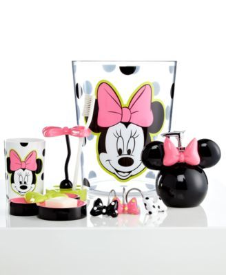 Disney Bath Accessories, Neon Minnie Trash Can - Bathroom ...