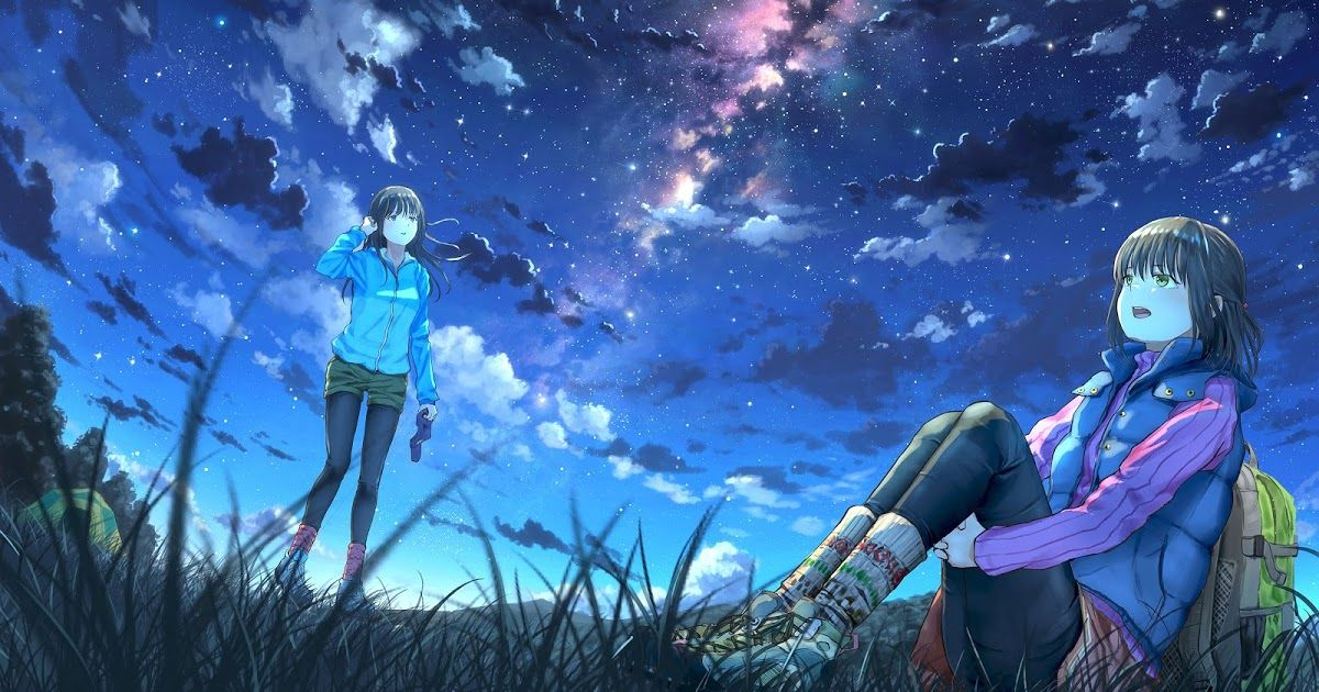 27 Ultrawide Anime Wallpapers Anime Girls Night Sky Scenery Clouds Stars 4k Wallpaper 64 Download Fantasy Blonde G Anime Scenery Sky Anime Anime Wallpaper Big anime wallpaper pack