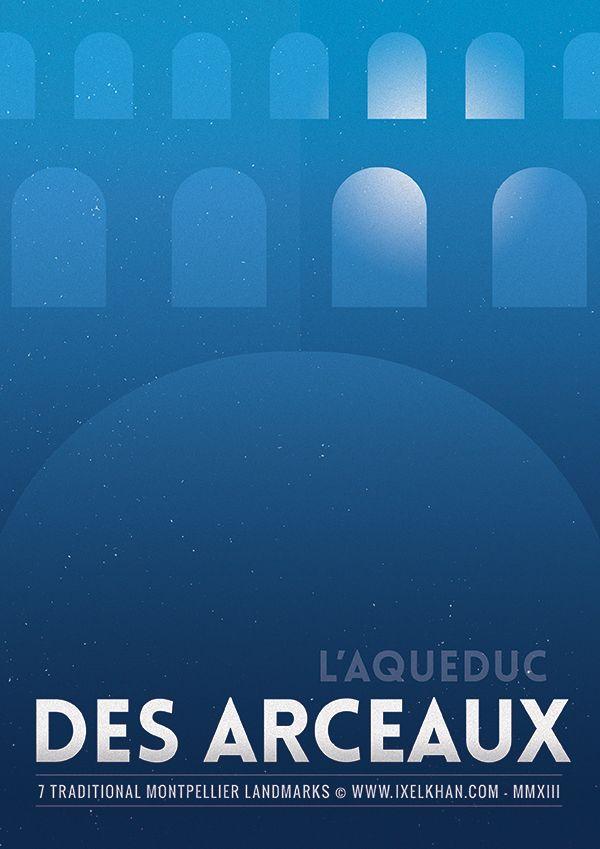 Minimal Posters Design : 7 Montpellier Landmarks by Ixelkhan , via Behance