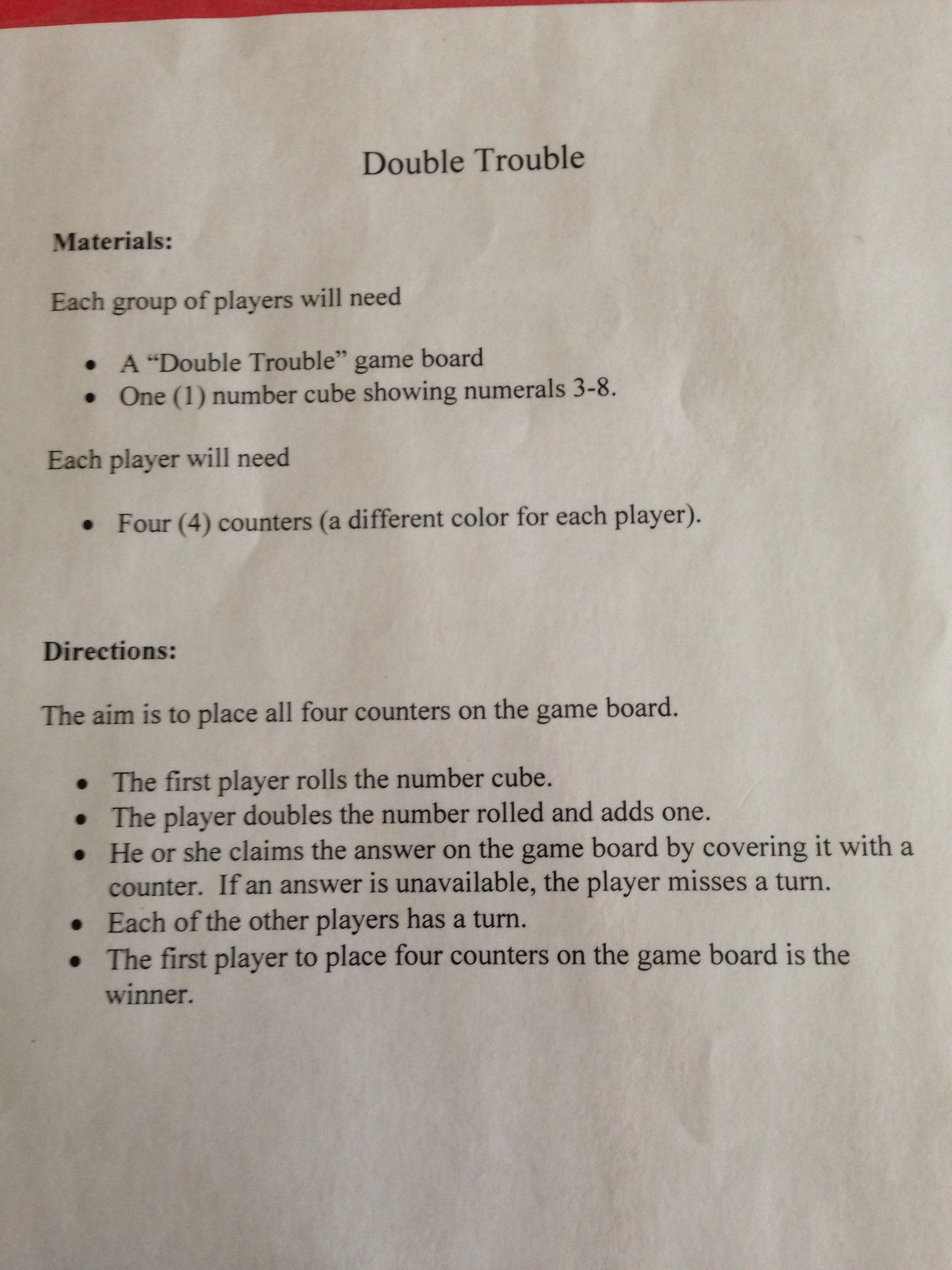 Double Trouble Math Game Directions Math Pinterest Double