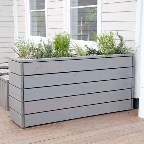 Pflanzkübel / Pflanzkasten Holz, Transparent Grau Garten