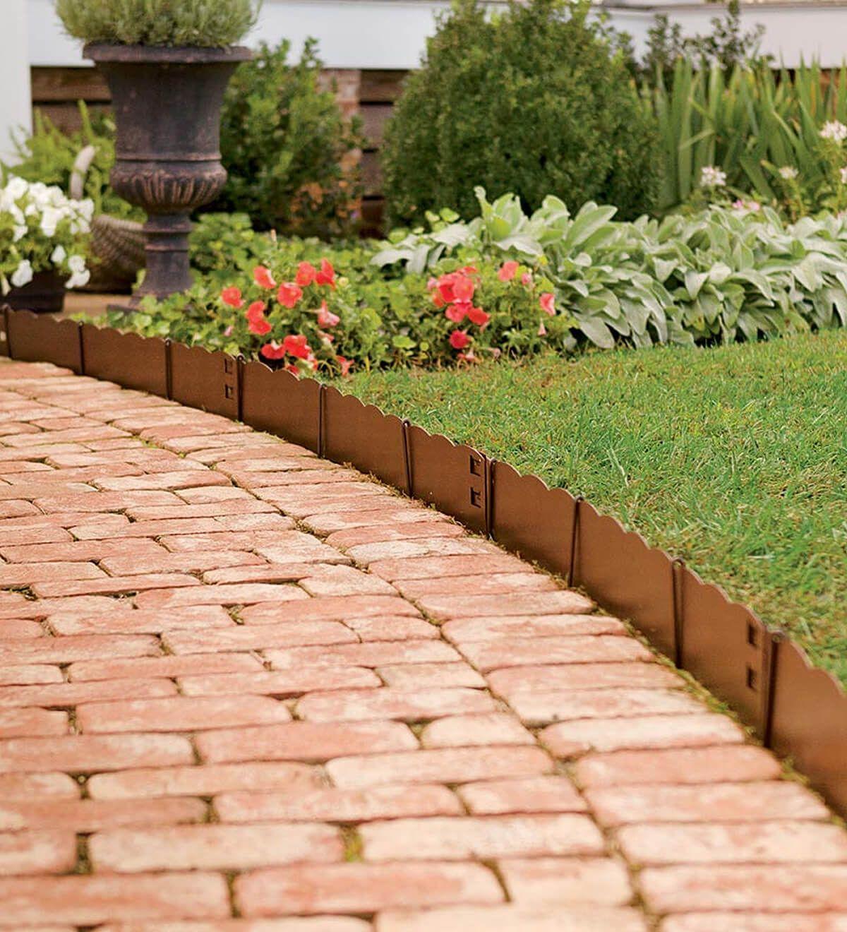 Short Scalloped Copper Edge Along Brick Path Landscape 400 x 300