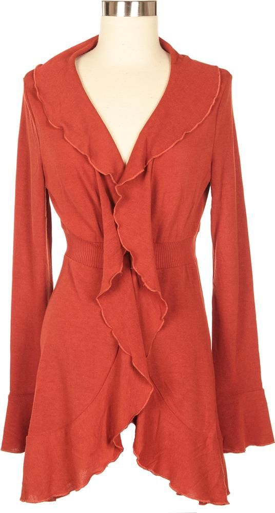Keep stylish this fall with a Ladies Waterfall Cardigan! The rust ...