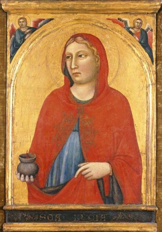 'St. Lucy', painting by Jacopo del Casentino and assistant, c. 1330, El Paso Museum of Art.jpg