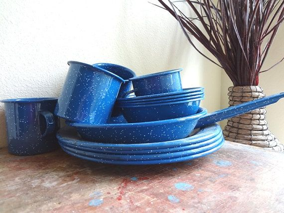Enamelware Set Camping Dishes Speckled Blue White