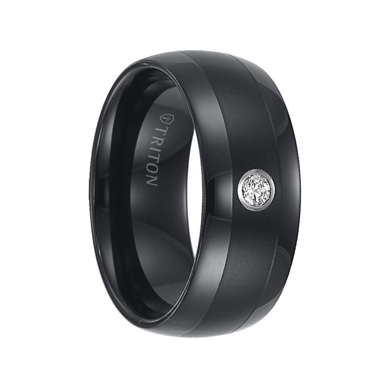 triton rings olin domed black tungsten carbide wedding band with satin finished center polished