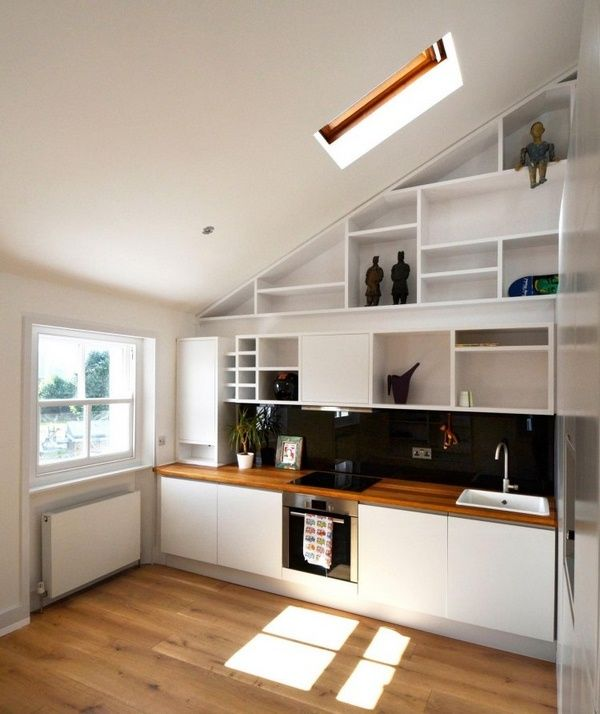 Wood countertops kitchen modern roof Schrage open shelves white - echtholz arbeitsplatte küche