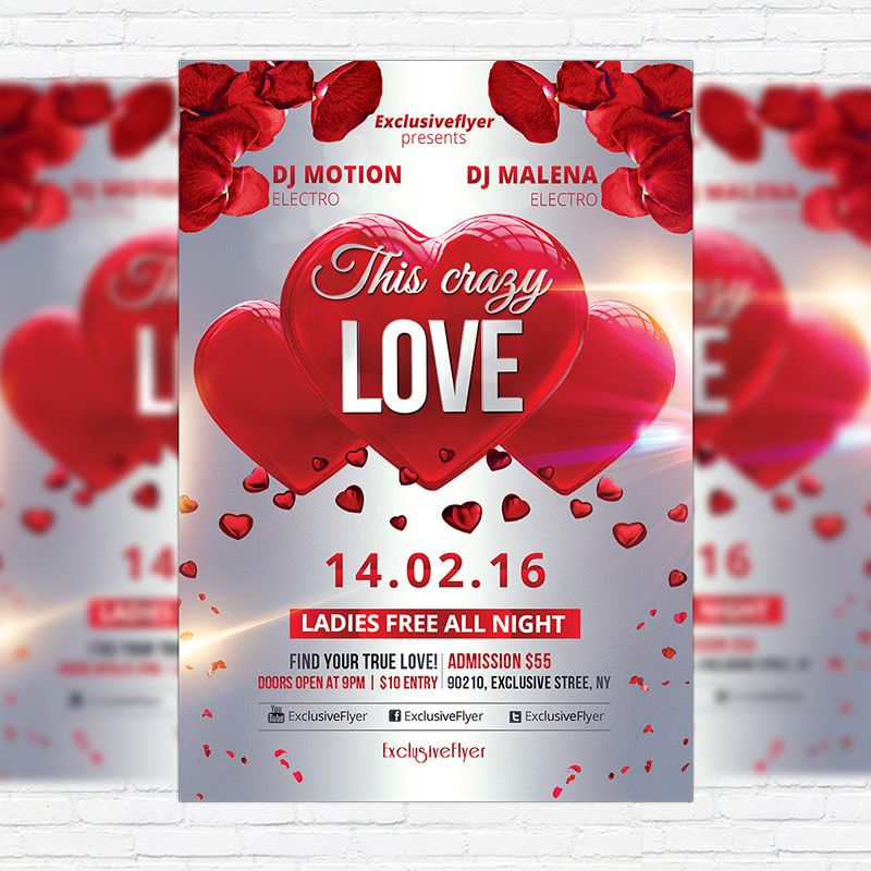 This Crazy Love - Premium Flyer Template + Facebook Cover http - love templates free
