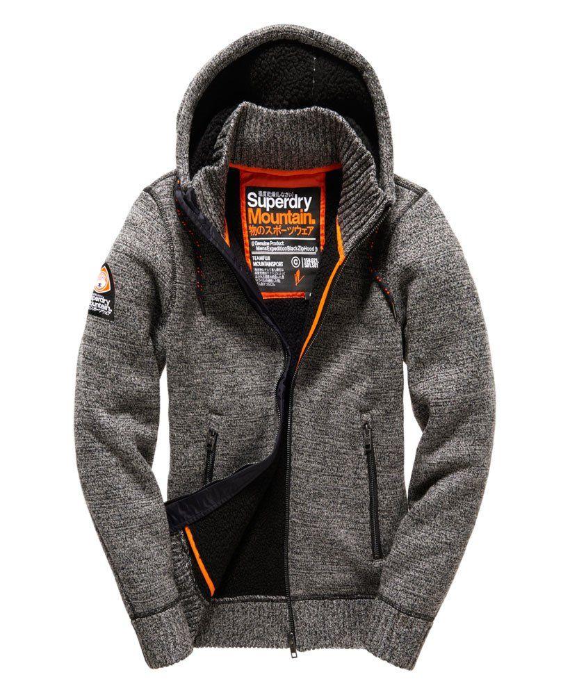 superdry mens expedition zip hoodie black grey twist