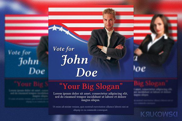 Political Election Flyer Graphics, Flyer template and Print templates - political brochure