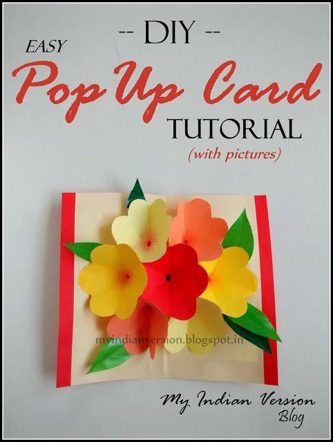 Diy Easy Pop Up Card Photo Tutorial Pop Up Card Templates Pop Up Flower Cards Diy Pop Up Cards