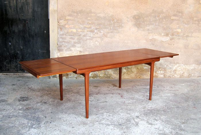 Table manger vintage en teck rallonge scandinave for Table rallonge scandinave