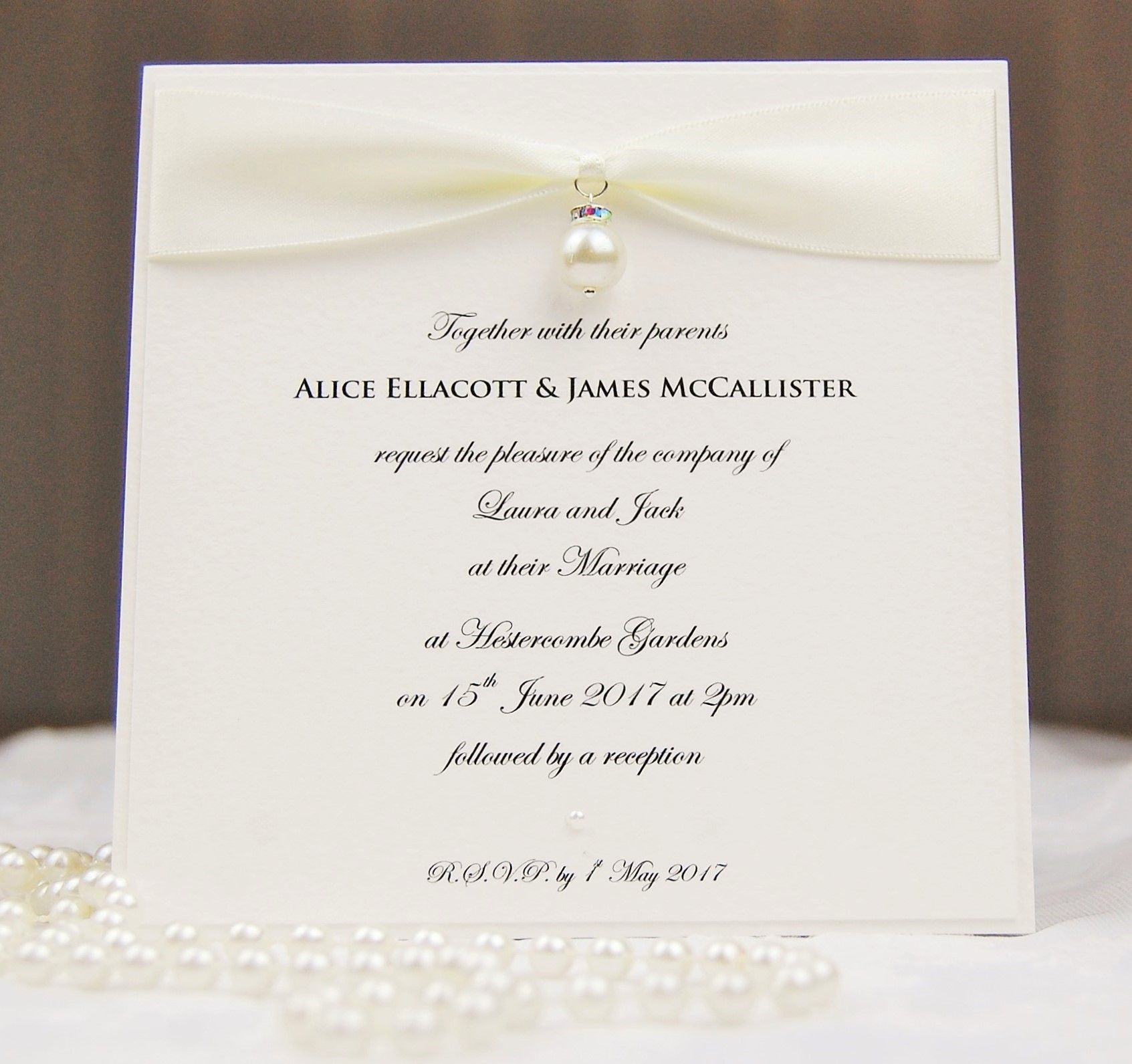 HipTwist Wedding Stationery Courante Collection - Ivory Cream Pearls ...