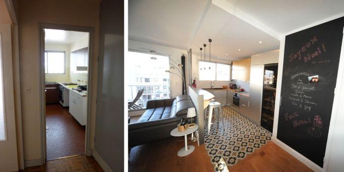 r novation d 39 un appartement avec une cuisine ouverte sur le s jour id es pour la maison. Black Bedroom Furniture Sets. Home Design Ideas