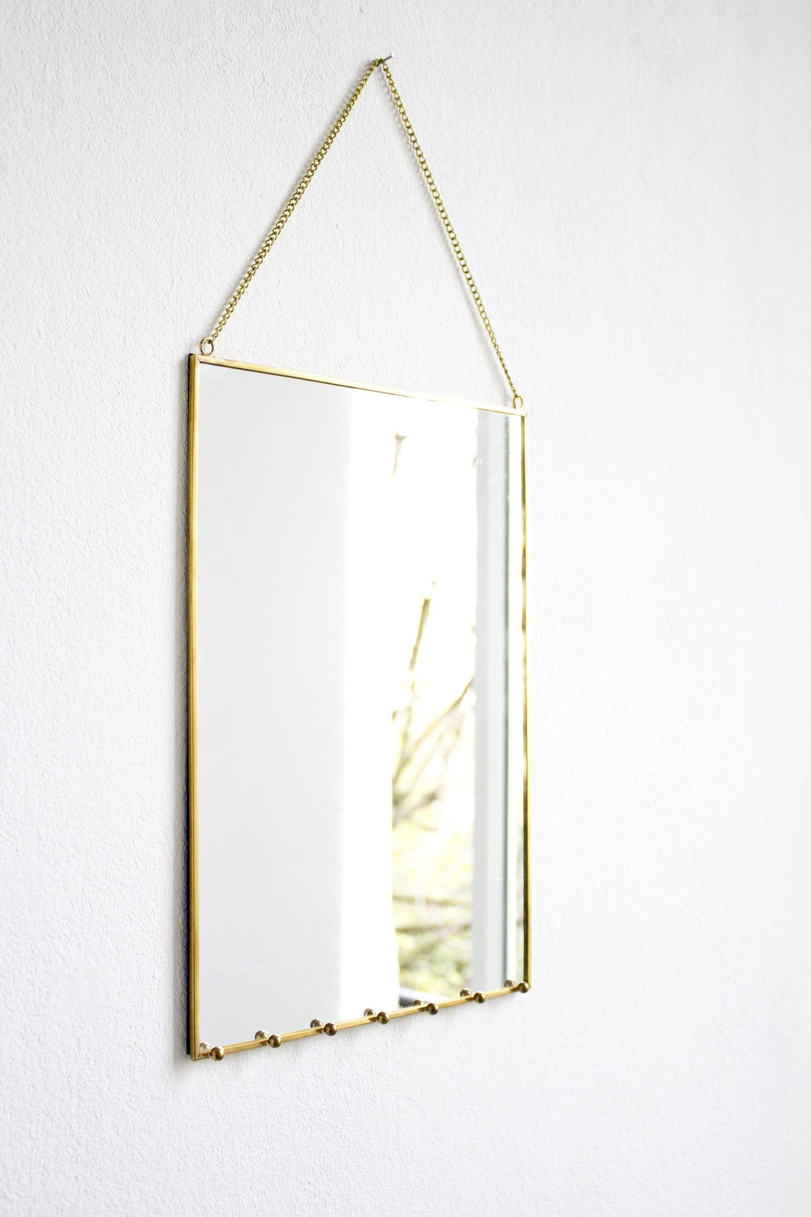 Brass Frame Mirror With Jewellery Hooks Mirrors Home Accessories Mirror Hanging Mirror Home Accessories