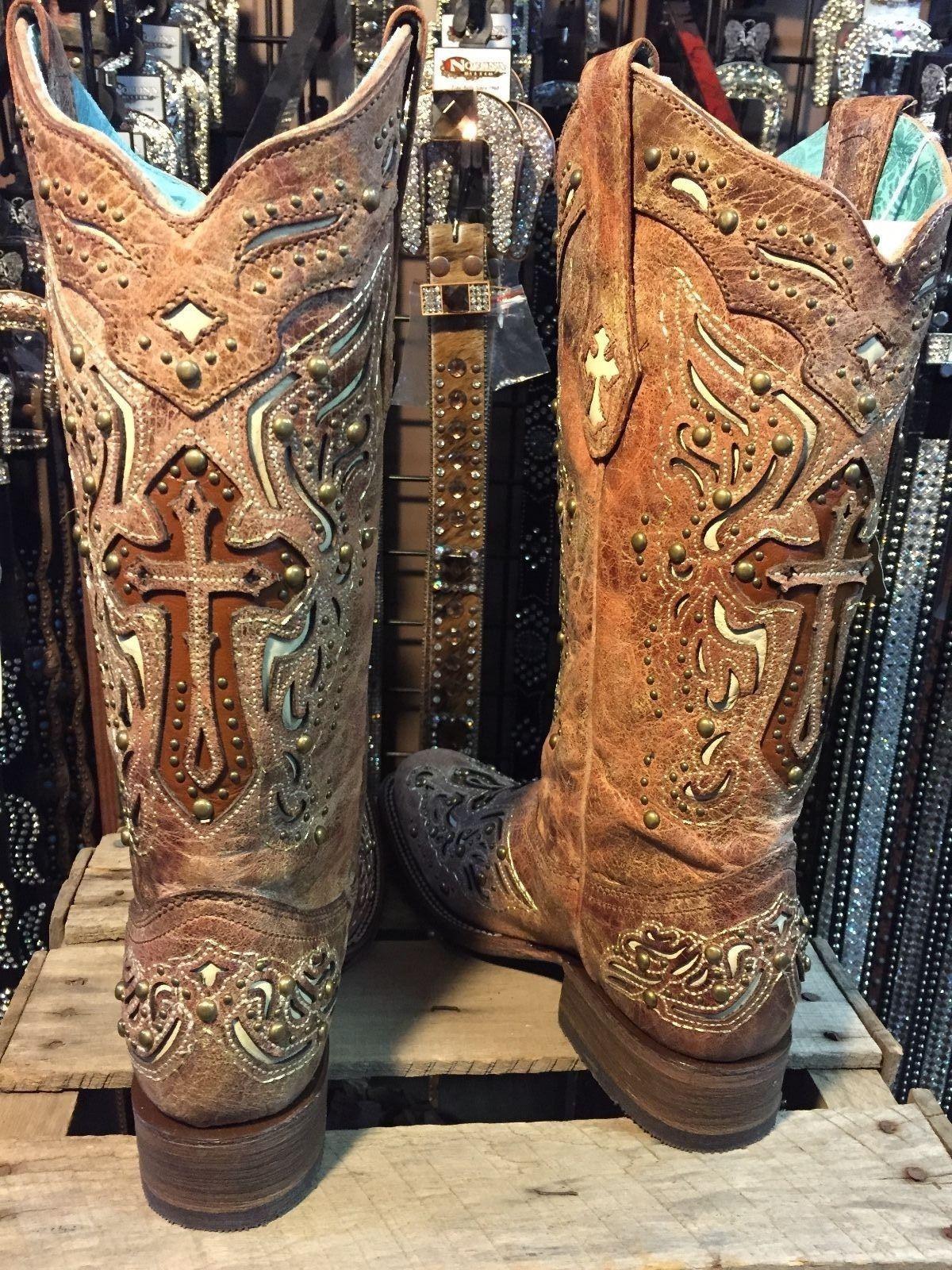 c9121e4905a Corral Ladies Cognac/Bone Inlay Cross & Studs Square Toe Boot C2856 ...