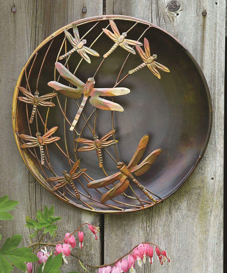 Look at this dragonflies raised steel outdoor wall art on zulily