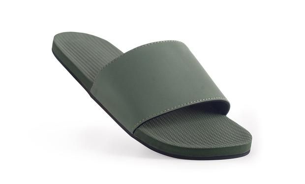 5954961d76d7 ESSNTLS Slide Women Leaf. Recycled Tire Soles Contoured natural rubber  footbed Embedded Arch Supports Laser