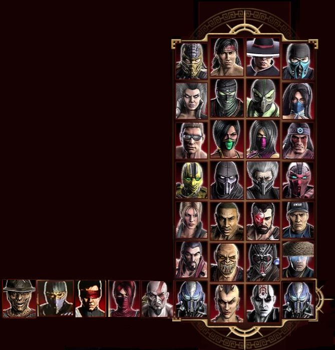 Mortal kombat 9 character screen with dlc characters