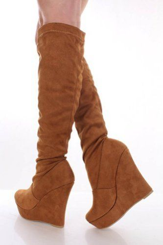 Tan Velvet Knee High Platform Wedge Boots www.4everfunky.com #shop #affordable #boots #shoes #sexy #dancing #fun #funky