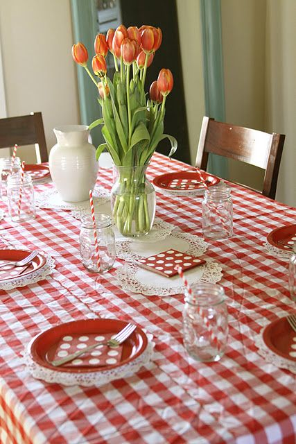 Classic Red U0026 White Checkered Tablecloth   Would Add More Color (Robin Egg  Blue, Yellow, Pink To Liven It Up!)