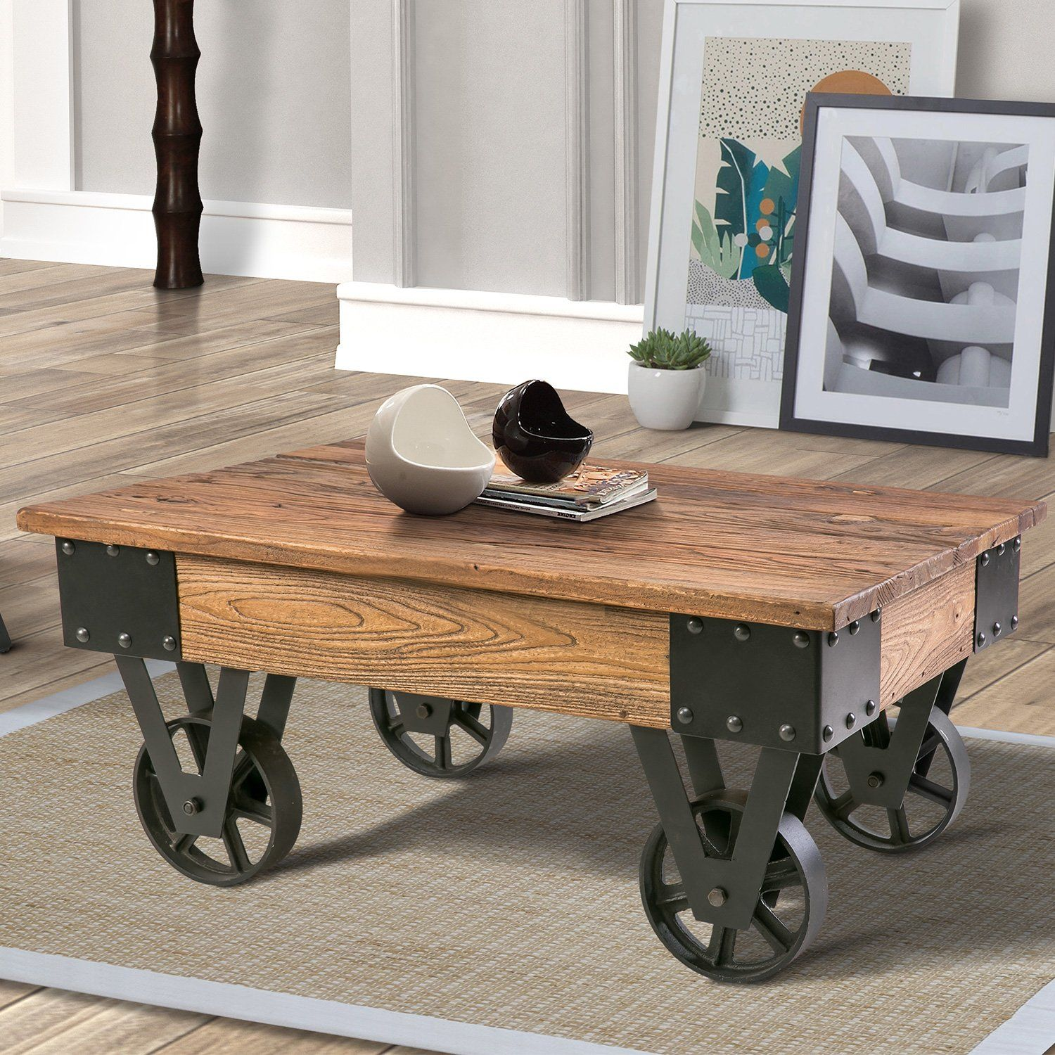 Amazon Com Harper Bright Designs Coffee Table 47 2 Cocktail Table Wood Look Accent Furniture With Metal Living Room Table Rustic Coffee Tables Coffee Table [ 1500 x 1500 Pixel ]
