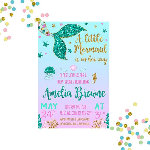 d47308ab2af58 Mermaid Baby Shower Invitation - Baby Shower Invitation - Baby ...