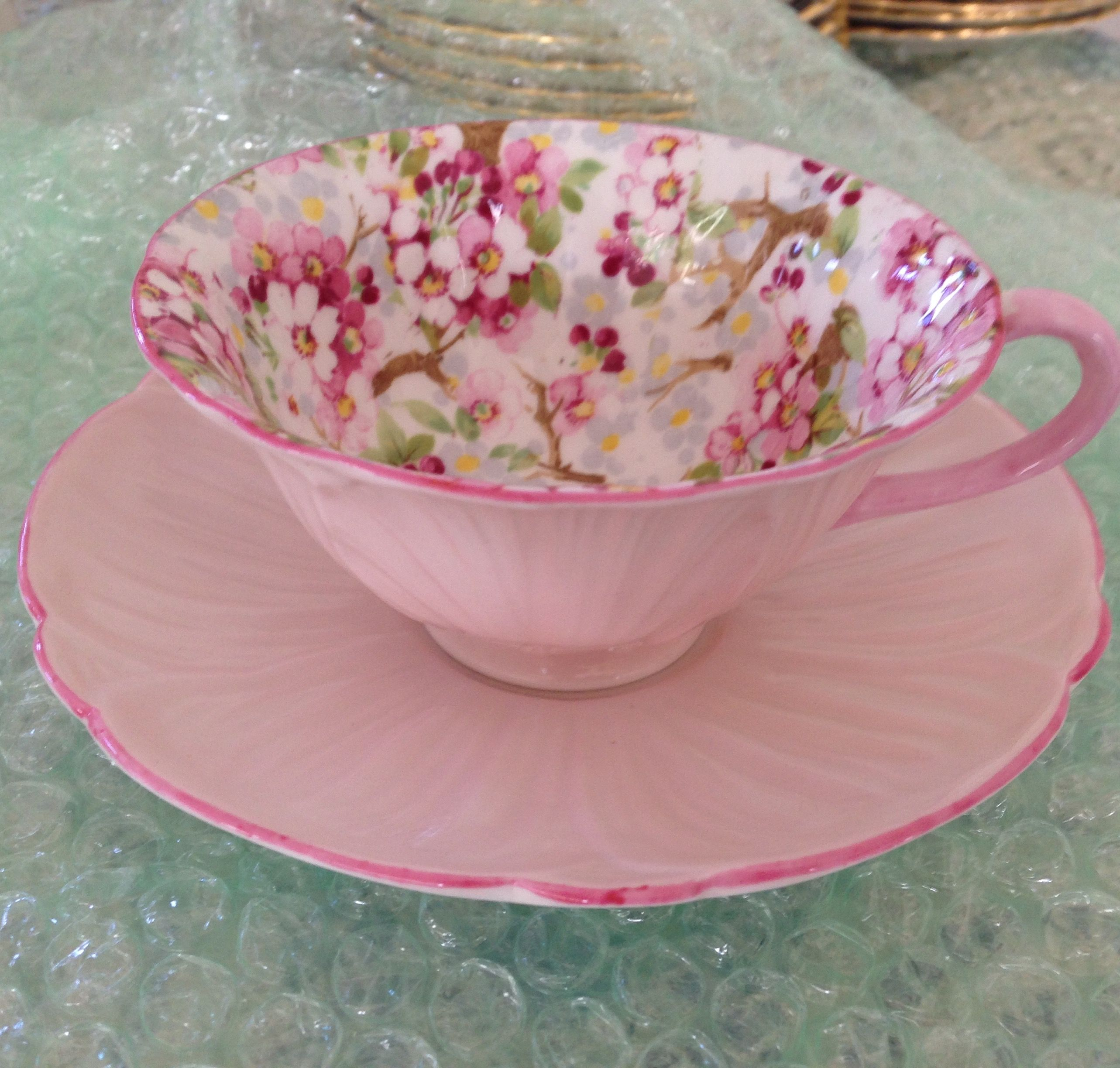 Sold Shelley Oleander Shape Maytime Pattern Teacup And Saucer  ~ Tazas Para Infusiones El Corte Ingles