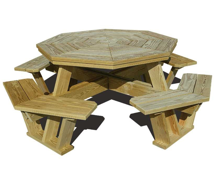 exceptional How To Make A Octagon Picnic Table Part - 16: free octagon wooden picnic table plans | Quick Woodworking Projects