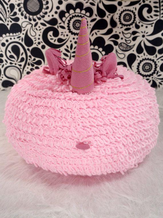Pink unicorn pillow pink crochet floor pouf nursery by ohbAby1112 #crochetpillow #crochetfloorpouf