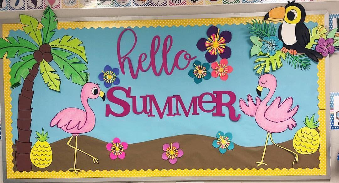 Summer Bulletin Board Summerbulletinboard Flamingos