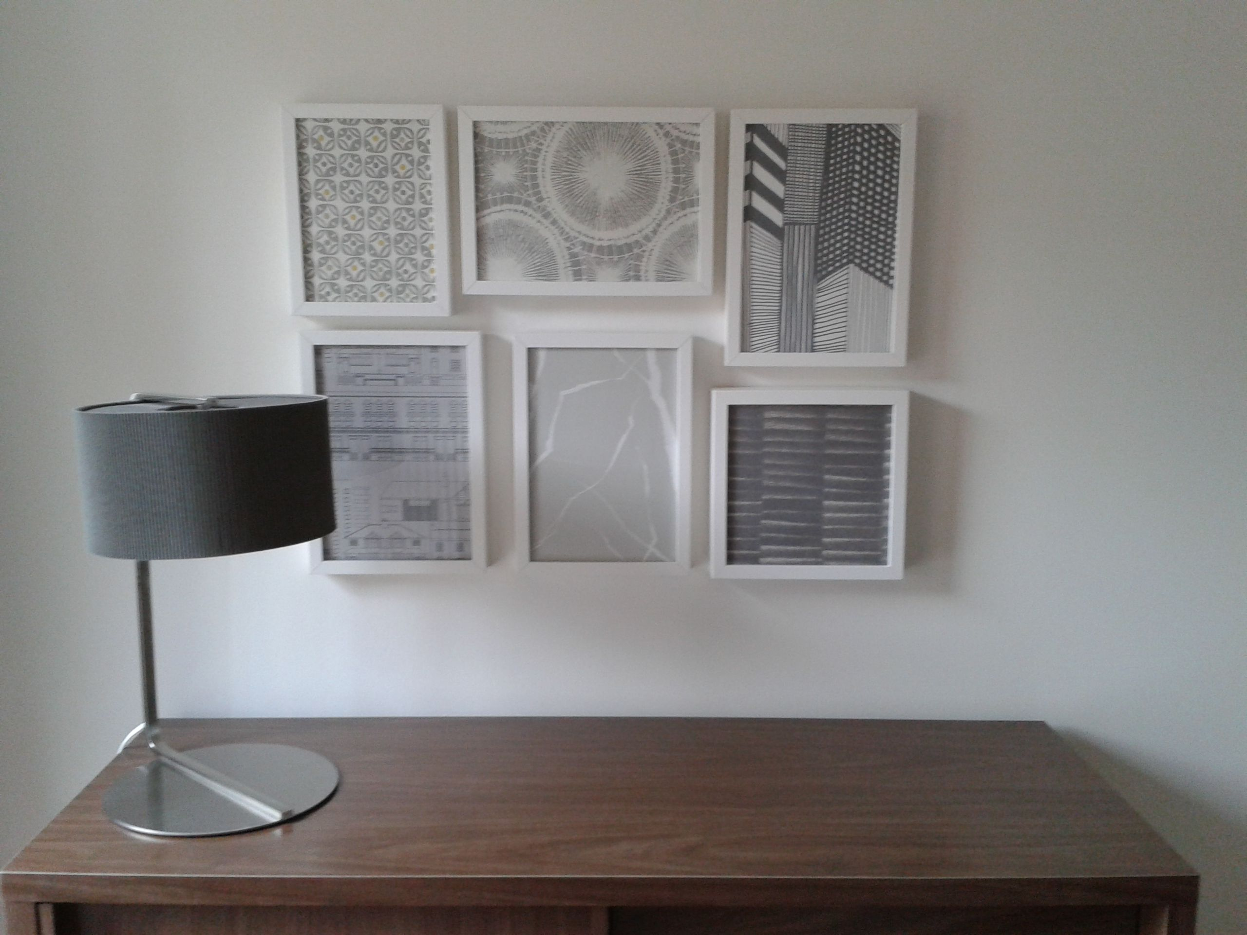 Wallpaper Samples In Grey Tones Framed In Ikea Ribba