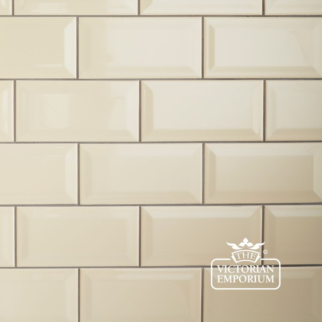 Bevel Wall Tiles 100x200mm Cream Plain Tiles Trendy Kitchen Tile Kitchen Wall Tiles Cream Kitchen Walls