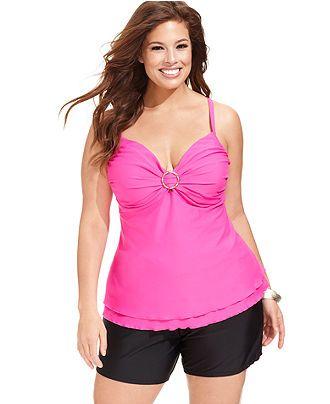6815f57f396cf Island Escape Plus Size Underwire Tankini Top & Solid Swim Shorts - Plus  Size Swimwear - Plus Sizes - Macy's