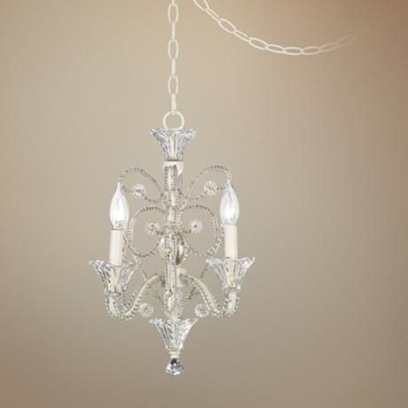 Four Light White Beaded Plug In Style Swag Chandelier Style