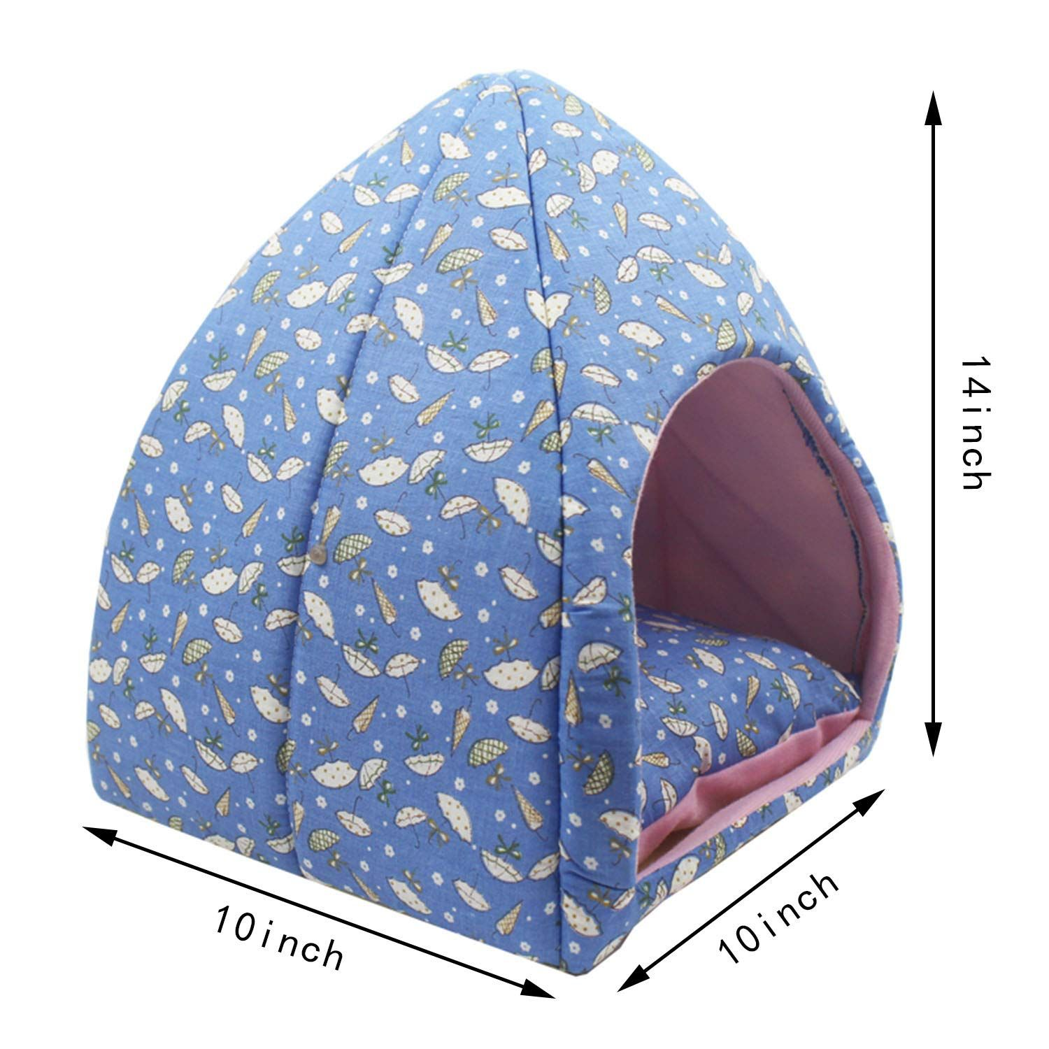 Hollypet Selfwarming 2in1 Foldable Comfortable Triangle Cat Bed Tent House Blue You Can Get Additional Details At Bed Tent Dog Bed Furniture Bed Furniture