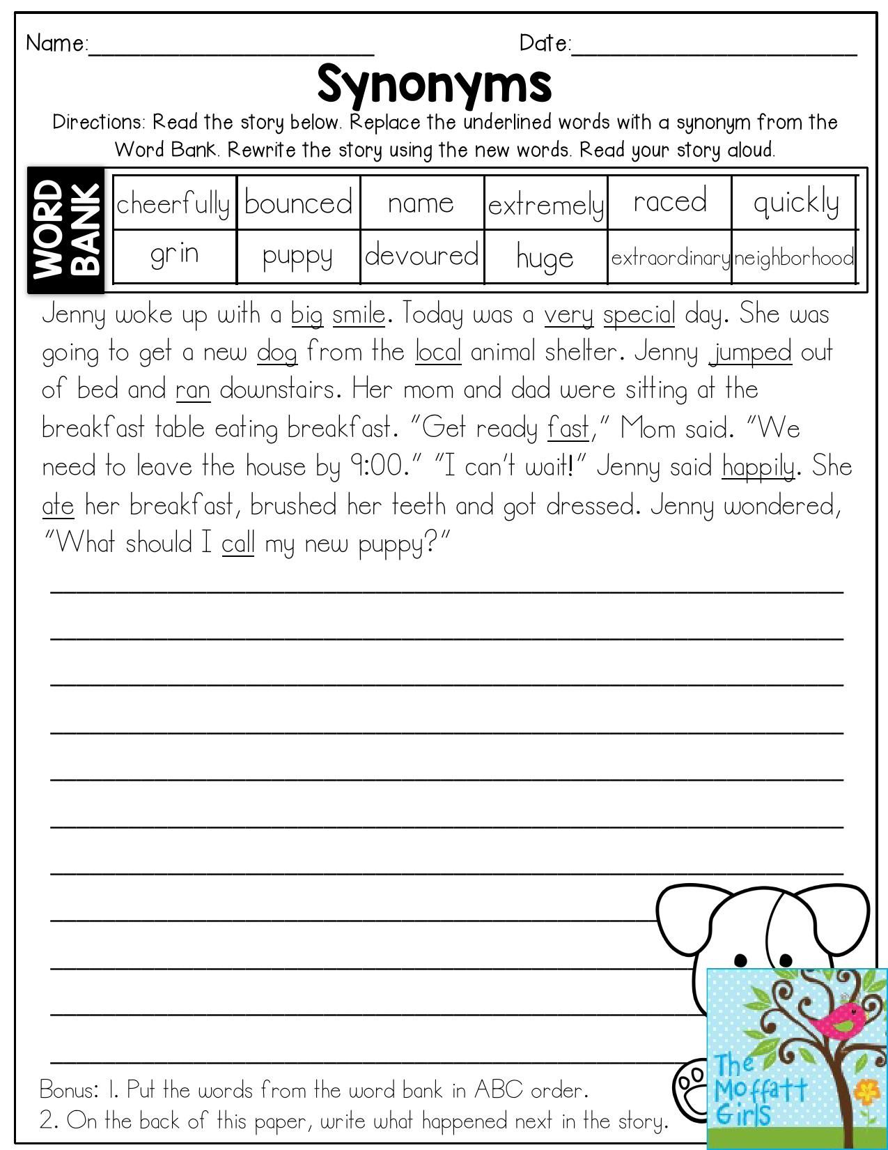 Worksheets Synonyms Words synonyms read the story and replace underlined words with then rewrite the