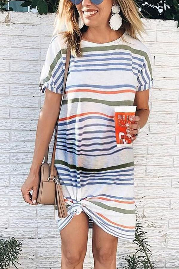 Maternity Stripe Short Sleeve Round Neck Dress