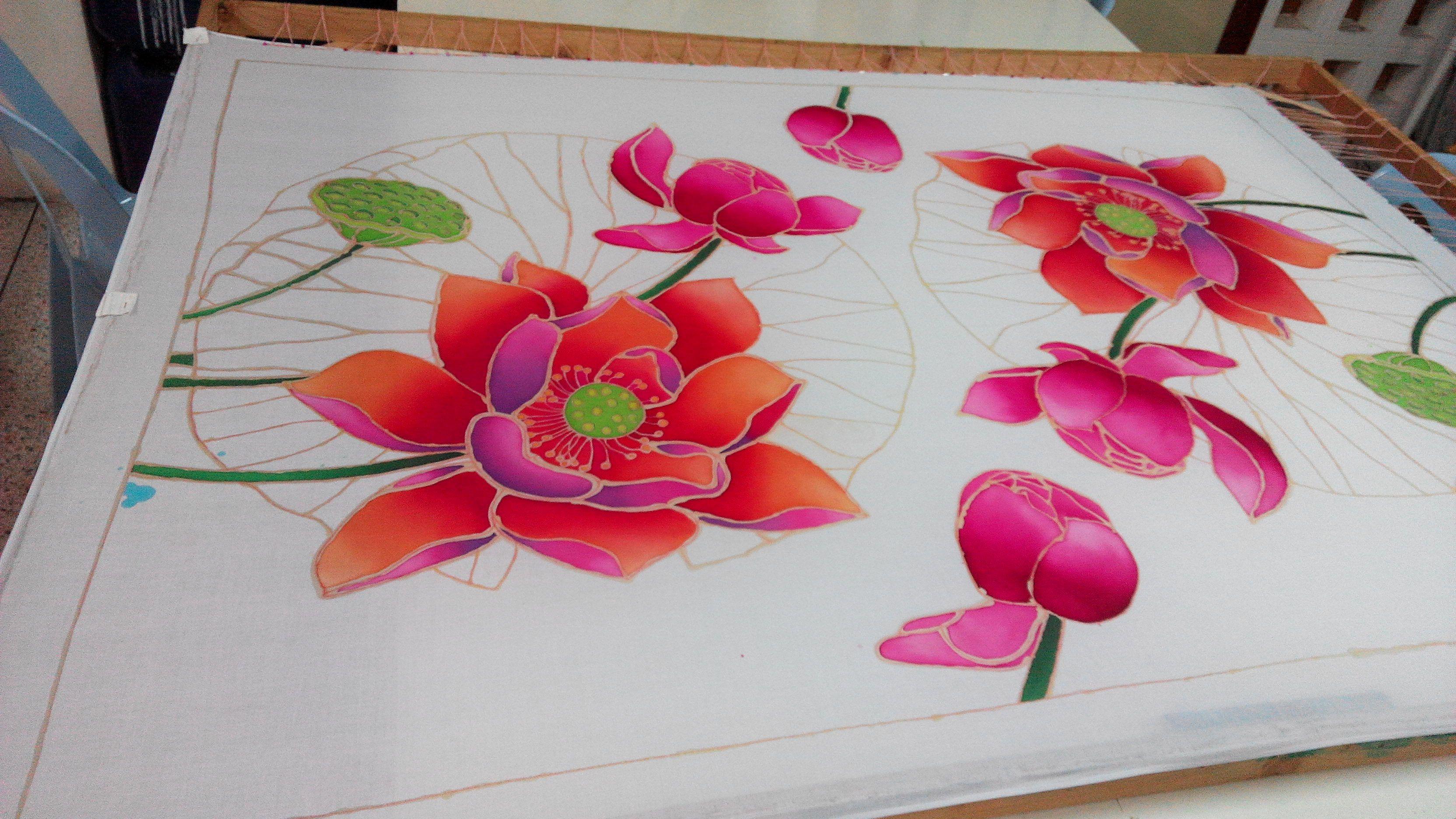 Red lotus piano cover batik cotton handmade batik art on cotton red lotus piano cover batik cotton handmade izmirmasajfo