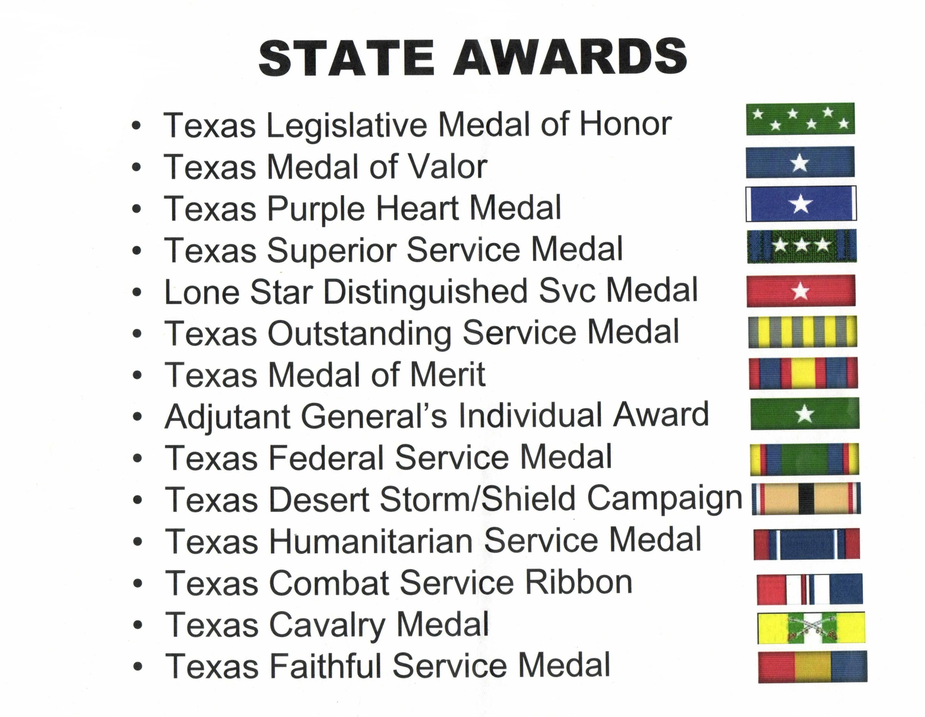 Texas Military Forces State Awards Texas Army National