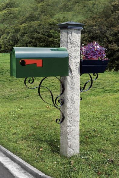 Nh Grey Granite Mailbox Post Rock 2 Thermal 2 Sides With Green