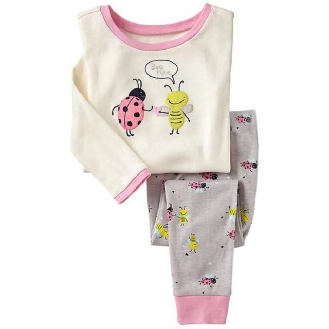 e6a957f77a6a5 Baby Girls Pajamas Suits 2 3 4 5 6 7 years Children Clothes Sets Girl  Clothes sets T-Shirts Pant Sleepwear 100% Cotton