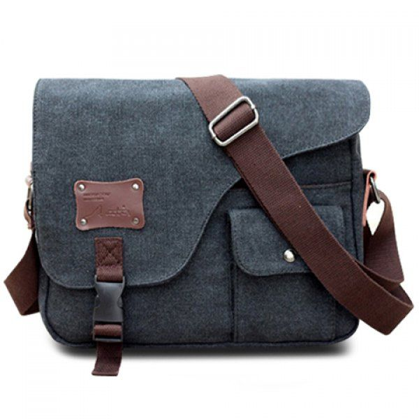 Casual Buckle and Rivet Design Messenger Bag For Men (BLACK) in Messenger  Bags  9f241783a8374