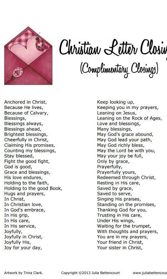 christian letter closing