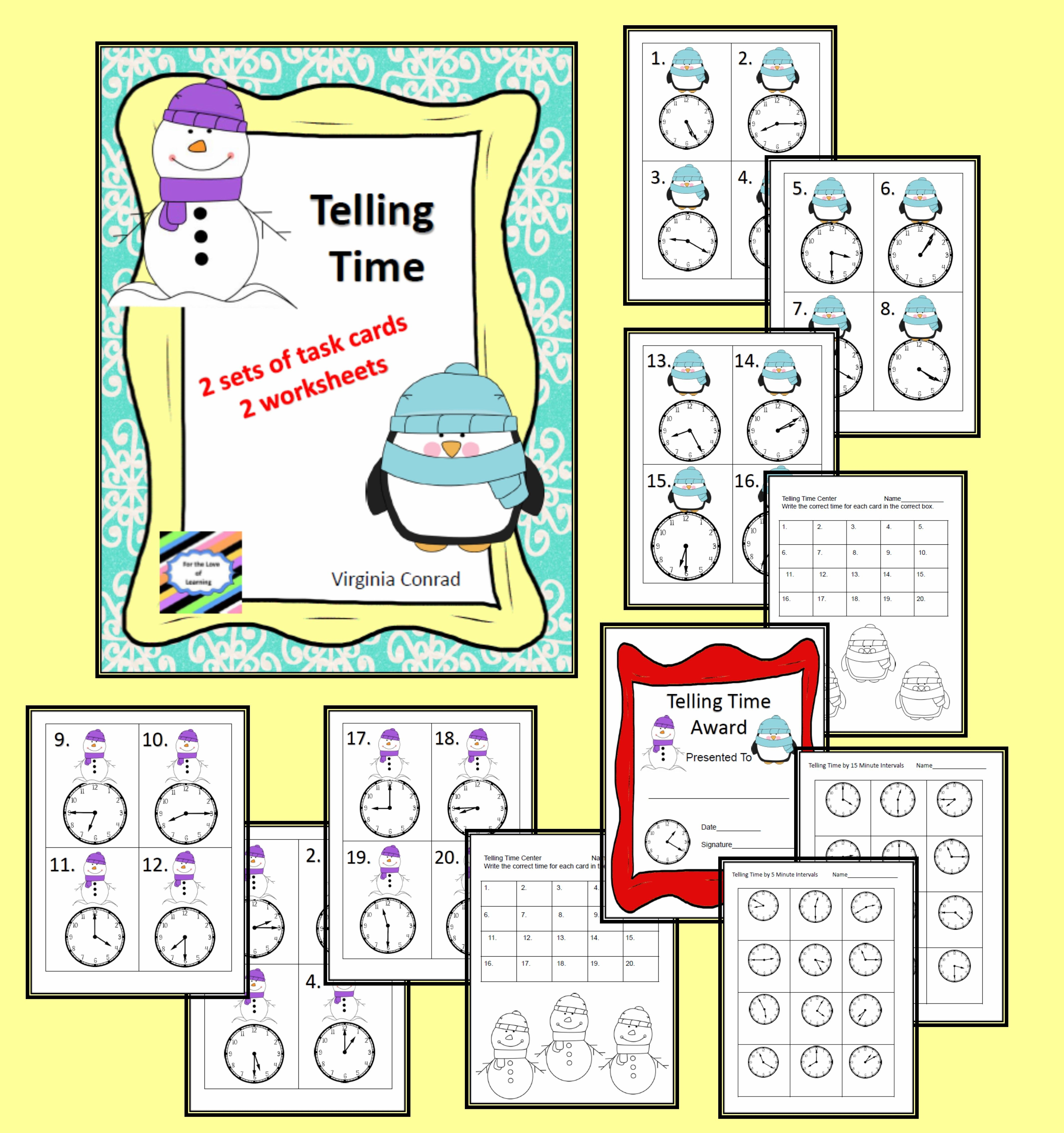 Telling Time Task Cards And Worksheets Winter Theme