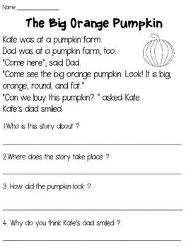 Pumpkins Reading Passage FREE | Reading comprehension ...