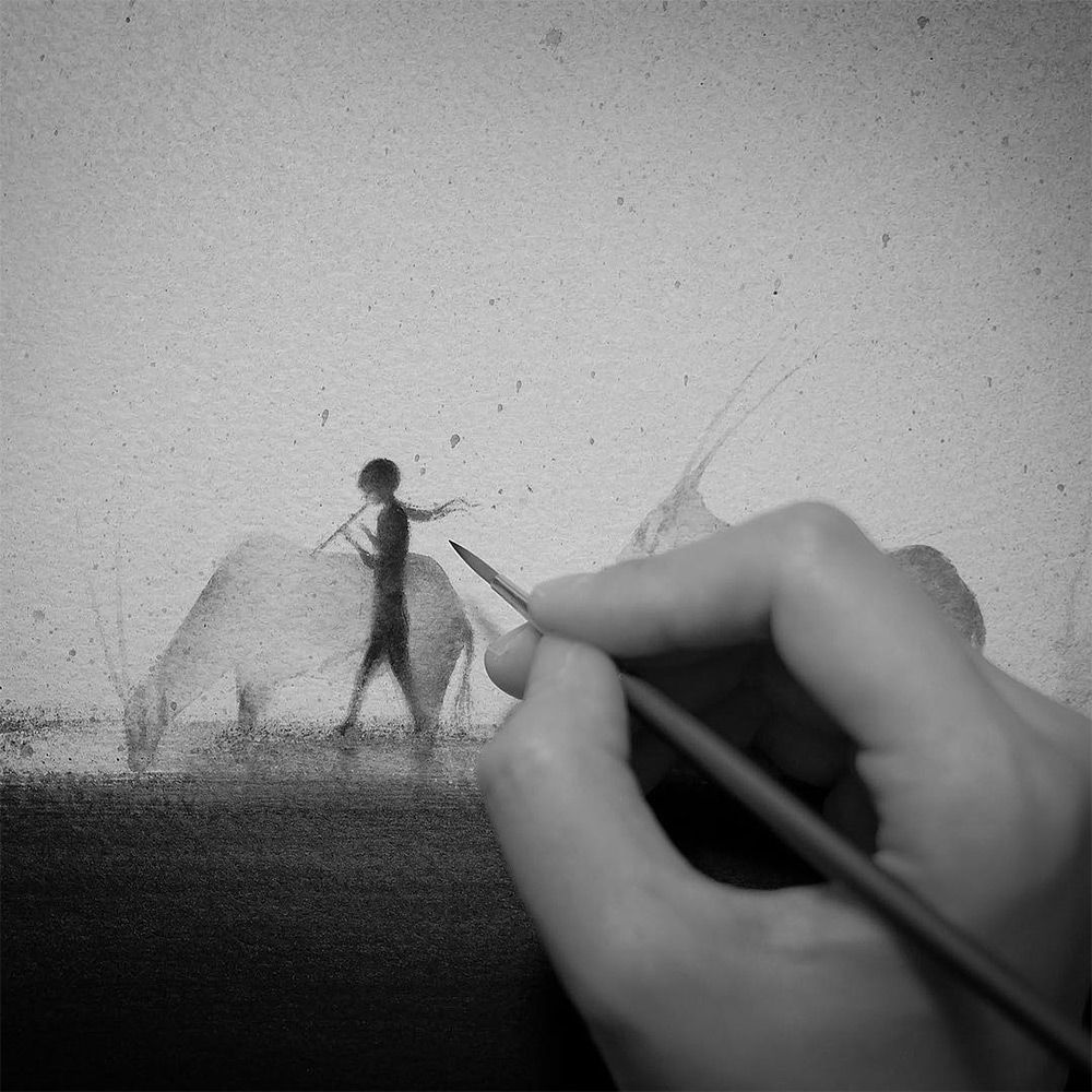 Hazy Black Watercolor Paintings of Children with Animals | Colossal