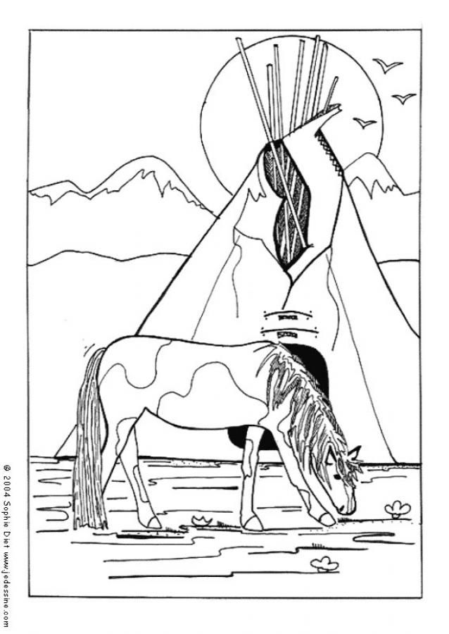 Coloriage Cheval indien Indiens